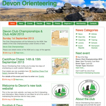 www.devonorienteering.co.uk, PFweb